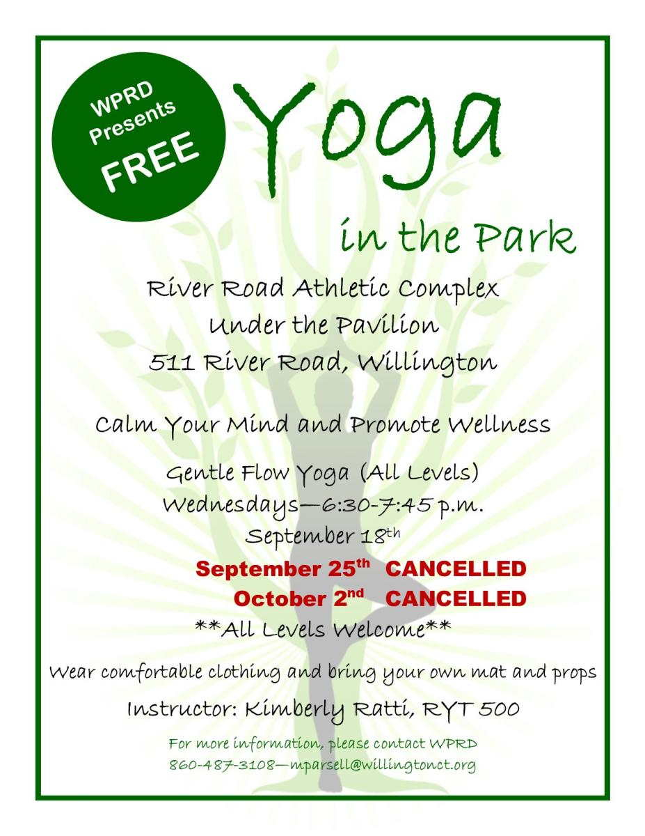 Yoga in the Park Cancelled